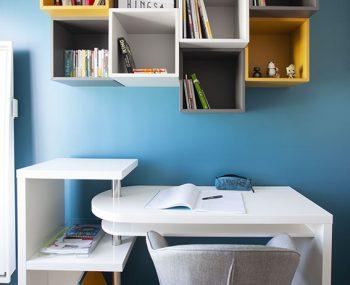 chambre - ado - nogent sur marne - bleu - gris - jaune - moderne - rangement - mon oeil dans la deco - decoration
